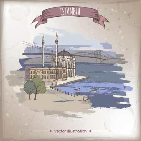 Vintage color travel illustration with Ortakoy Mosque and bridge over Bosphorus in Istanbul, Turkey. Hand drawn sketch. Great for coffee, restaurant, cafe ads, travel brochures, labels.