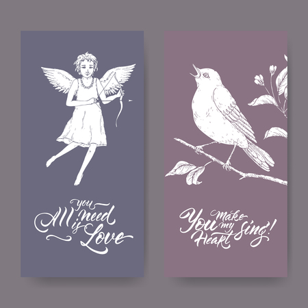 Two Valentine romantic banners with cupid, singin bird and brush lettering. Great for posters, greeting cards. Stock Illustratie