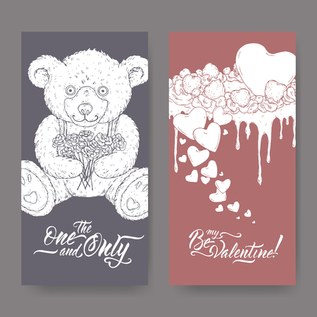 Two Valentine romantic banners with teddy bear, cake decorated with hearts and brush lettering. Great for posters, greeting cards.