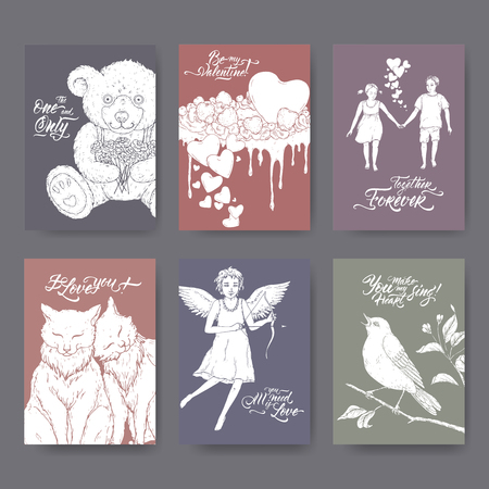 Six A4 format Valentine romantic cards with teddy bear, cake, two cats, cupid, boy and girl, singing bird and brush lettering. Great for posters, greeting cards.
