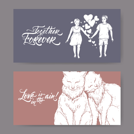 Two Valentine romantic banners with two cats, boy and girl holding hands and brush lettering. Great for posters, greeting cards. Illustration