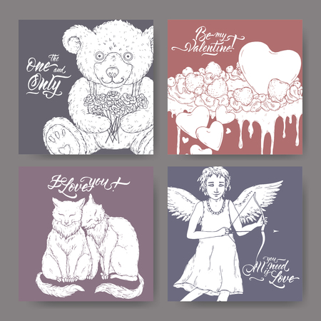 Four Valentine romantic banners with teddy bear, cake decorated with hearts, two cats, cupid and brush lettering. Great for posters, greeting cards.