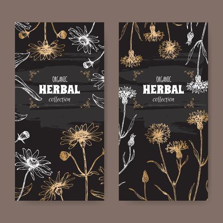 Set of two labels with Arnica montana aka mountain arnica and Centaurea cyanus aka cornflower or bachelor button.