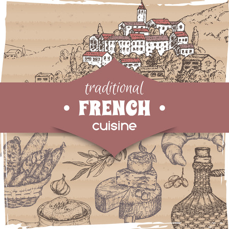 French cuisine template Provence landscape, wine bottle and cheese, croissant and onion soup, olives and sausages. Hand drawn sketch. Great for restaurant, cafe ads, travel brochures, labels.  イラスト・ベクター素材