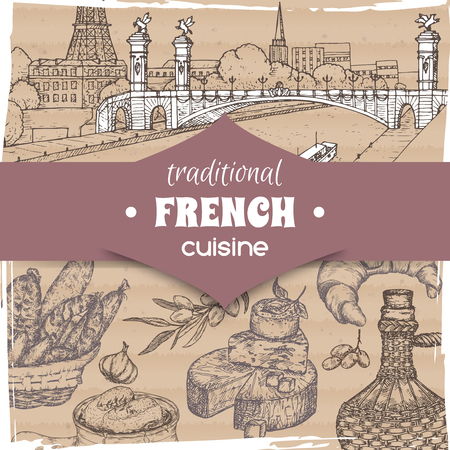 French cuisine template Paris landscape, wine bottle and cheese, croissant and onion soup, olives and sausages. Hand drawn sketch. Great for restaurant, cafe ads, travel brochures, labels. Stock Illustratie