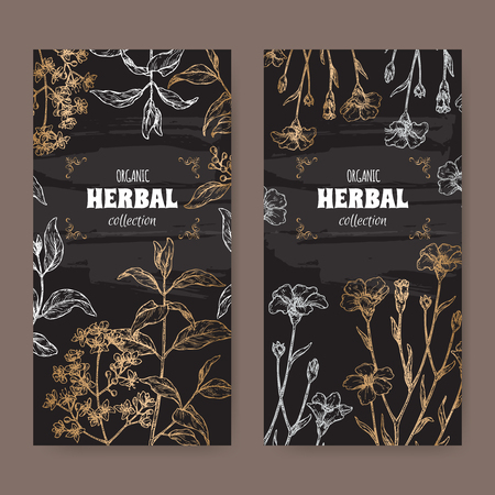 Two labels wuth Lawsonia inermis aka henna tree and Linum usitatissimum aka common flax sketch on black. Green apothecary series. Great for traditional medicine, or gardening.