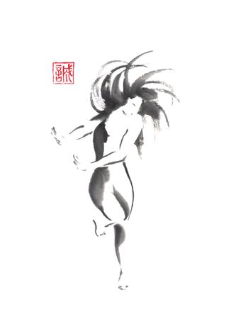 Dancing girl Japanese style original sumi-e ink painting.