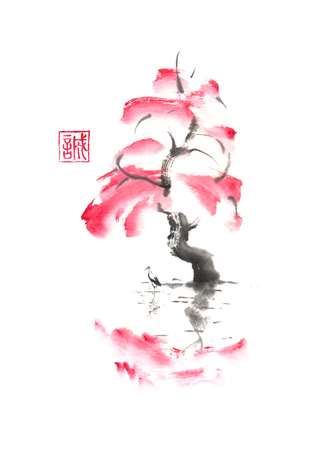 Autumn tree and stork over water Japanese style original sumi-e ink painting.