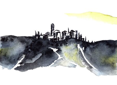 Abstarct Tuscan hill town watercolor painting on white.