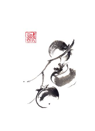 Three persimmons Japanese style original sumi-e ink painting.