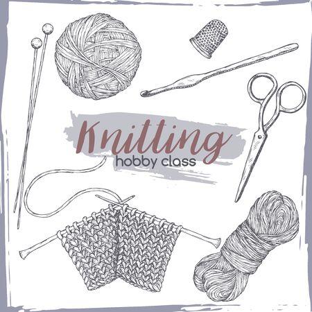 Vintage knitting tools hand drawn sketch.