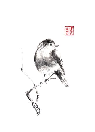 Little bird sitting on a branch of a tree Japanese style original sumi-e ink painting. Zdjęcie Seryjne