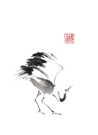 Dancing crane Japanese style original sumi-e ink painting.