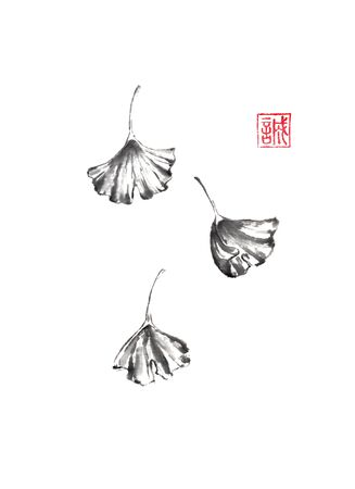 Three falling ginkgo leaves Japanese style original sumi-e ink painting.