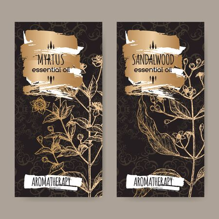 Two labels with Common myrtle aka Myrtus communis and Indian sandalwood aka Santalum album sketch on black lace