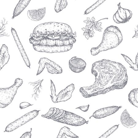 Meat products seamless pattern featuring hand drawn sketches of cold meats, sausages, hamburger, steak, chicken, vegetables. Great for market, restaurant, grill cafe, food label design.