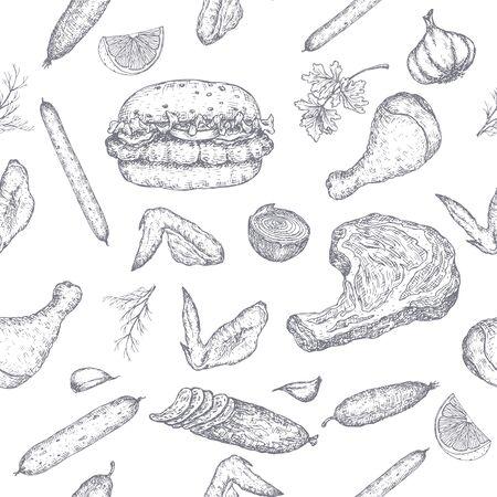 Wzór produktów mięsnych z ręcznie rysowane szkice wędlin, kiełbasek, hamburgerów, steków, kurczaków, warzyw. Świetne na rynek, restaurację, kawiarnię z grillem, projektowanie etykiet żywności. Ilustracje wektorowe