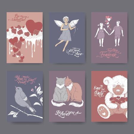 Six A4 format color Valentine romantic cards with teddy bear, cake, two cats, cupid, boy and girl, singing bird and brush lettering. Great for posters, greeting cards. Çizim