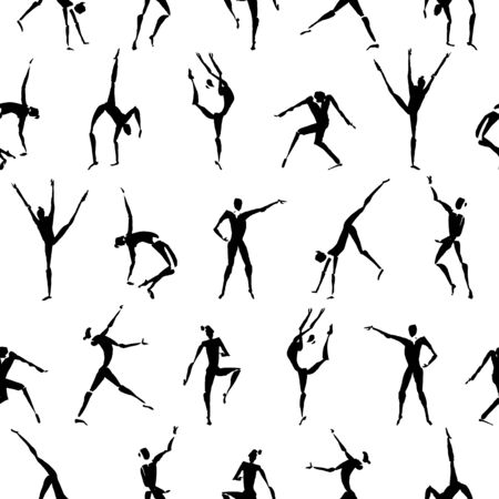 Seamless pattern with hand drawn ink dancing figures Vetores