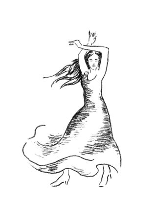 Corrida style flamenco dance performer hand drawn charcoal sketch.