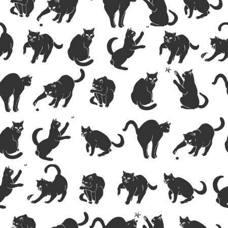 Seamless pattern with hand drawn playful black cats.