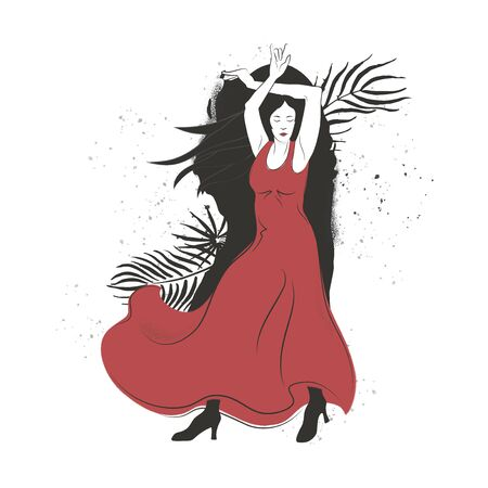 Corrida style flamenco dance performer vector illustration.