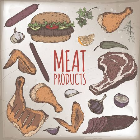 Meat products color template featuring hand drawn sketches of cold meats, sausages, hamburger, steak, chicken, vegetables. Great for market, restaurant, grill cafe, food label design.