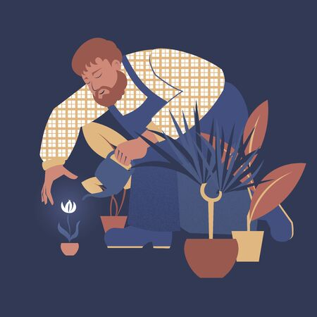 Vector illustration with a gardener tending house plants.