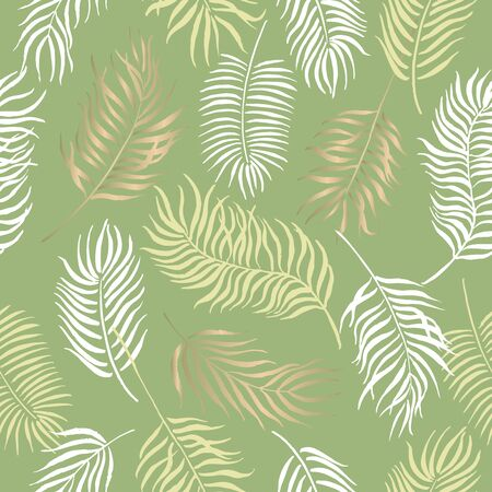 Seamless pattern with hand painted ink palm leaves on green. Great for decor, patterns, greeting cards. Artwork for your design.