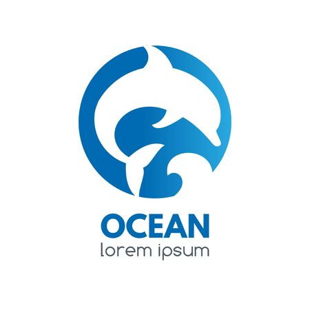 Logo badge with dolphin and ocean wave in a circular shape.