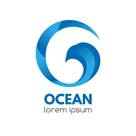 Logo badge with ocean wave in a circular shape. Illusztráció