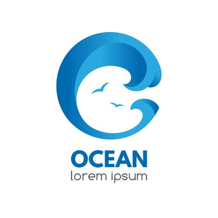 Logo badge with ocean wave and seagulls in a circular shape.