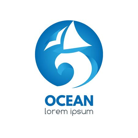 Logo badge with ocean wave and sailboat in a circular shape. Illusztráció