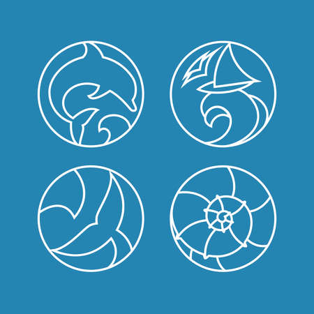 Set of  badges with ocean wave, dolphin, whale tail, sailboat and seashell in a circular shape. Illusztráció