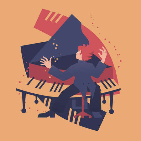 Piano player abstract vector illustration. Musicians series.