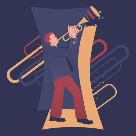 Trumpet player expressive vector illustration. Musicians series. Vectores