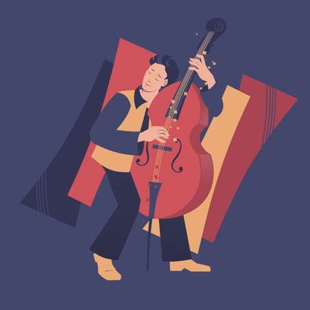 Double bass player vector illustration. Musicians series.