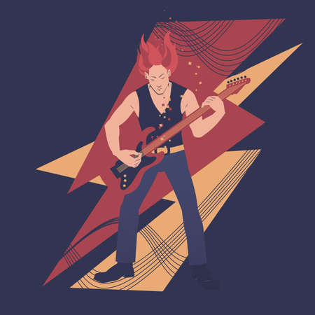 Rock guitar player vector illustration. Musicians series. Vectores