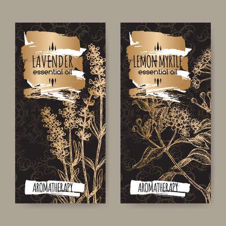 Two labels with Lavender aka Lavandula angustifolia and Lemon myrtle aka Backhousia citriodora sketch on black.
