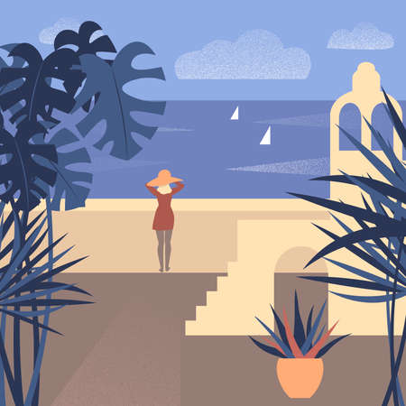 Vector illustration of a girl watching the sea at southern town beach. 矢量图像
