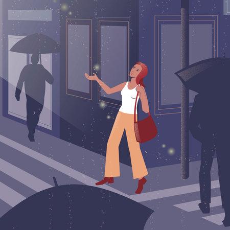 Vector illustration of a girl under summer rain in a big city.
