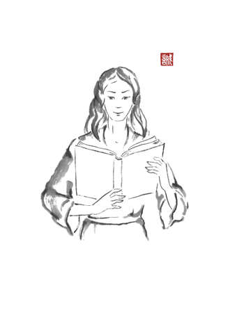 Girl with a book Japanese style original sumi-e ink painting. Standard-Bild