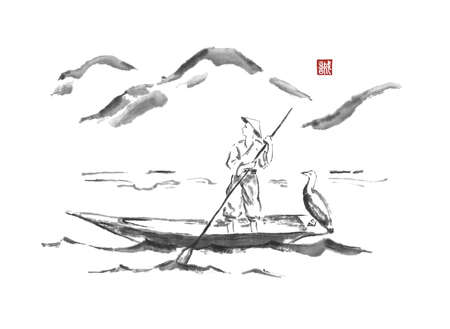 Fisherman on a boat Japanese style original sumi-e ink painting.
