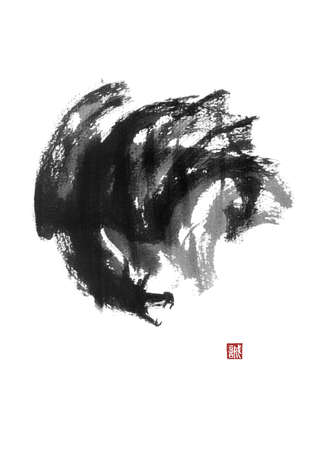 Japanese style sumi-e painting with cloud dragon.