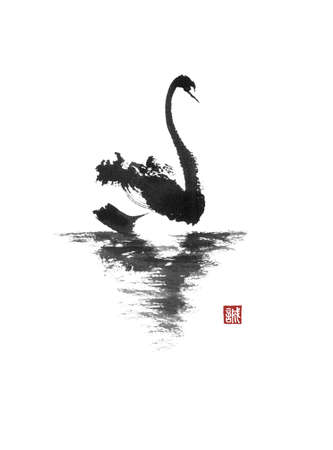 Japanese style sumi-e painting with floating swan.