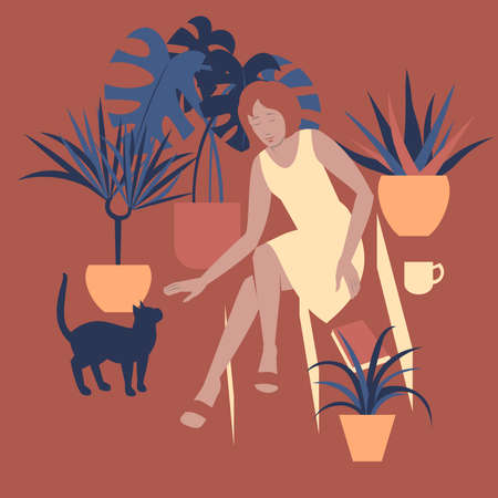 Vector illustration with a lady and her cat playing on house steps.