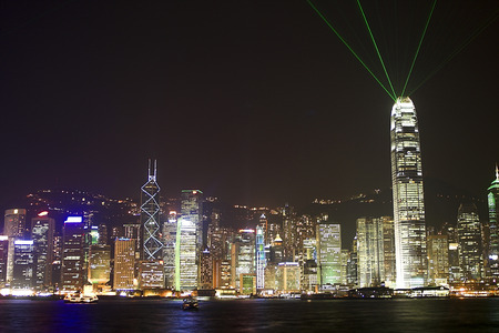 Hong Kong Island at night photographed from Kowloon