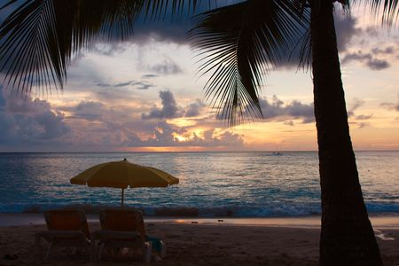 tropical sundown photgraphed in Holetown, Barbados photo