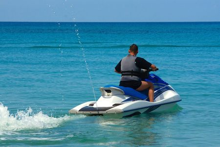Driving Jetski near Holetown/Barbados;