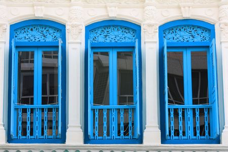 Windows photographed in Singapore;